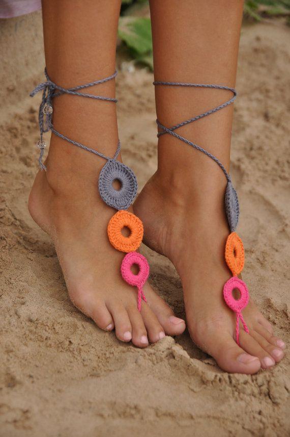 Gehäkelte Multicolor barfuss Sandalen, Nude Schuhe, Fuß-Schmuck, Hochzeit, Sexy, Yoga, Fußkette, Bellydance, Steampunk, Strandbad