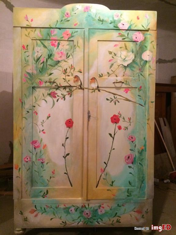 Szafa wiosna niepowtarzalne meble ręcznie malowane - Zdjęcie na imgED