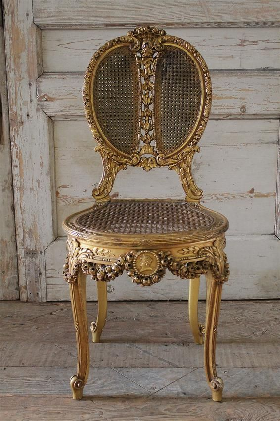 19th Century Louis XV Style Cane and Carved Giltwood French Chair from Full Bloom Cottage