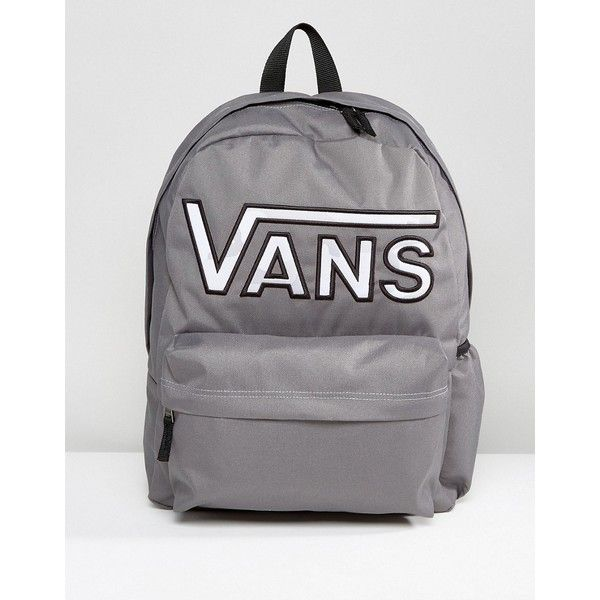 Vans Realm Flying V Camo Backpack In Grey ($46) ❤ liked on Polyvore featuring bags, backpacks, grey, camo backpacks, sports backpacks, zip backpack, logo backpack and backpack bags