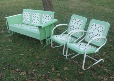 I would paint these turquois!  Vintage Metal Porch Glider set rocking & bounce chairs antique ...