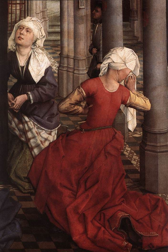 Working class Tudor periode.  [some of] the rest of that painting snippet below with the pinned sleeves - this one shows trim (probably embroidery?) around the lower hem o the red gown. #SCA