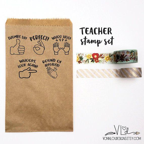 custom stamp set - SMALL set 1/2 x 1/2 - teacher stamp set - emoji stamps - hand…