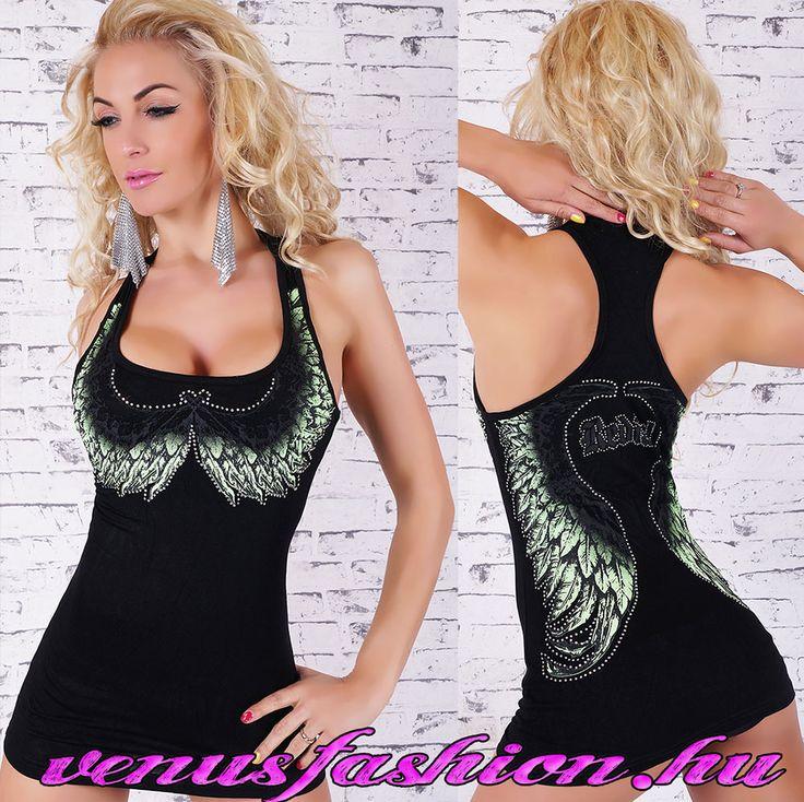 Angyal szárny mintás fekete női top / trikó - Venus fashion női ruha webáruház