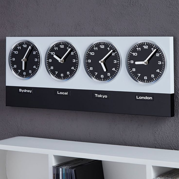 """MODERN WALL CLOCK """"GLOBAL"""" with 4 clockworks and magnets silver black from Xtradefactory: Amazon.co.uk: Kitchen & Home"""