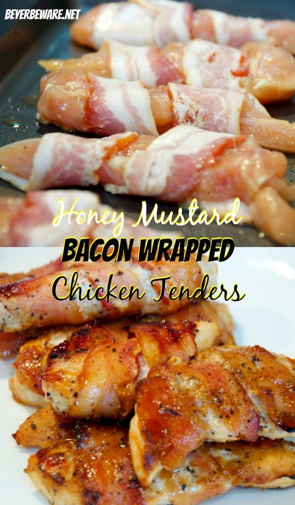 A baked honey mustard bacon wrapped chicken tenders fit perfectly into little hands and is an easy chicken recipe the whole family will love.