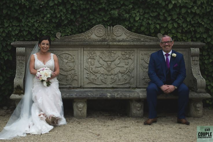 resting the feet. on the bench at Cliff at Lyons. Wedding by Couple Photography https://www.couple.ie