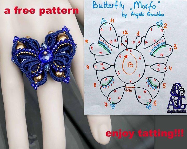 Butterfly free tatting pattern diagram by Angela Gambka #tatting #insect #jewelry pendant