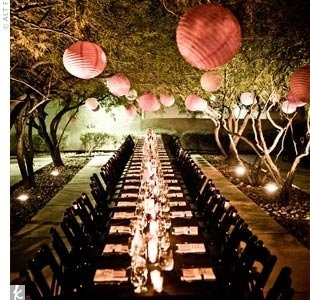 pink lanterns and candles