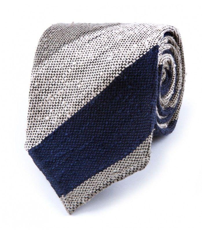 Navy Woven Shantung Block Stripe Tie
