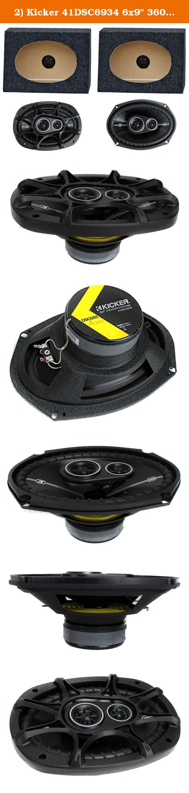 "2) Kicker 41DSC6934 6x9"" 360W Car Speakers + 2) QTW6X9 Angled 6x9"" Speaker Box. Package Includes: Kicker DSC6934 6x9"" 360W 3-Way Car Speakers (1 pair) Q-Power QTW6X9 Angled 6x9"" Speakers Box Enclosure (1 pair) ----- The Kicker DSC6934 6x9"" 3-way car audio speakers features a MAX power of 360 watts and an RMS power of 90 watts. A drop-in coaxial upgrade with the flexibility to fit nearly any vehicles doors for a vast improvement over factory sound. Also, the thin-profile woofers avoid..."