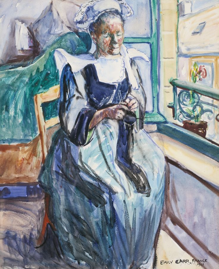 pintoras: Emily Carr (Canadian, 1871 - 1945): Woman knitting - repose #3 (1911) (via Sotheby's)