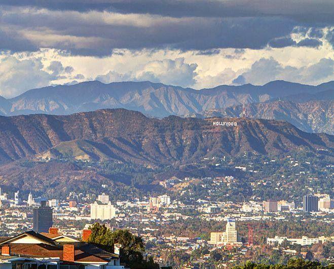 Hollywood, California (looking North towards Hollywood sign, Sunset & Hollywood Blvd, Hollywood Bowl...