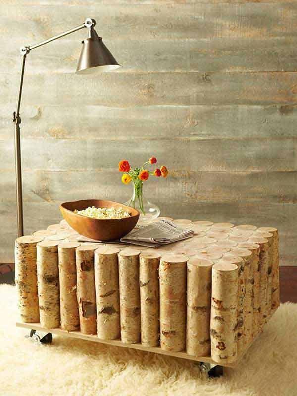 couchtisch selber bauen aus birke-basteln mit naturmaterialien