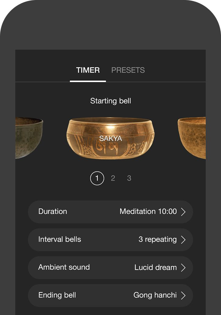 Free meditation or mindfulness app, timers with a variety of bells, and tons of guided meditations.