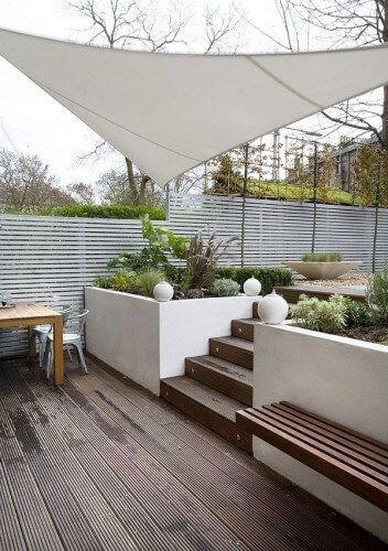 Outdoor living with concrete walls