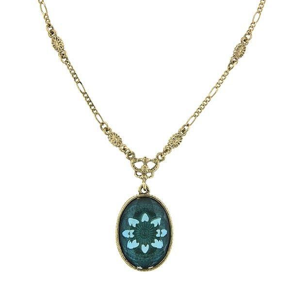 Victoria's Intaglio Indicolite Oval Pendant Necklace