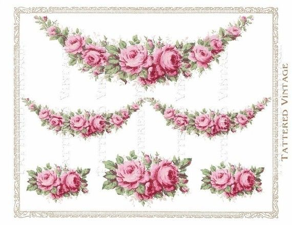 Pink Roses Garland Instant Download no.231 PNG Transfer Decals Antique Wallpaper Collage Sheet  231PNG