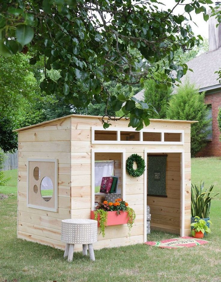 Pultdach Bauen Spielhaus Holz | Kids Indoor Playhouse, Diy Playhouse