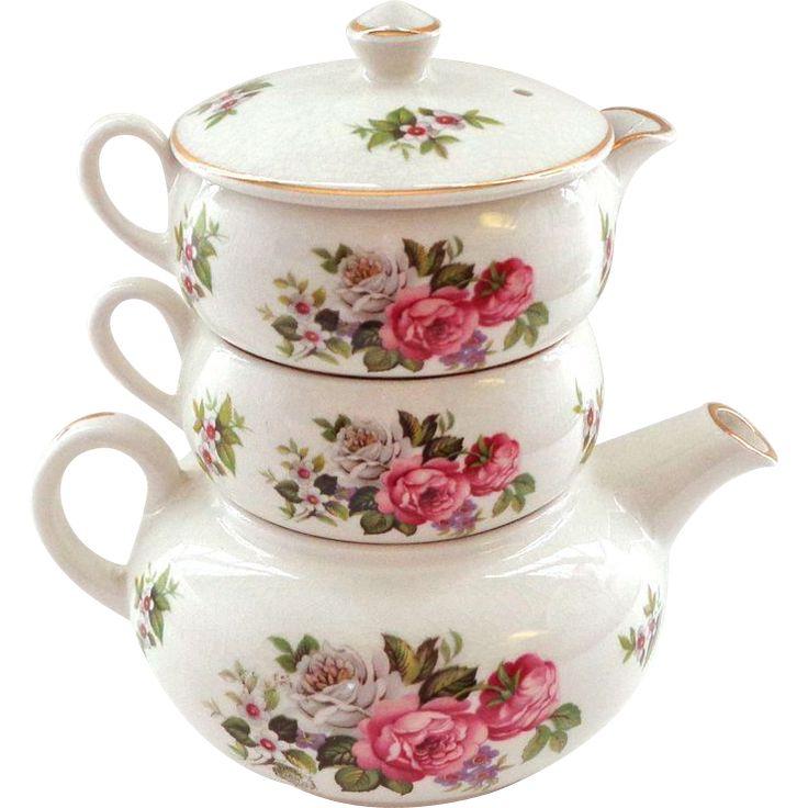 Vintage Kent Foley Harmony Rose STACKING Teapot from thatwasthen on Ruby Lane