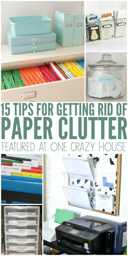 Clever ideas for getting rid of paper clutter in your home, and ways to organise and approach paperwork tasks