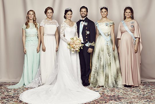 kungahuset.se:  Wedding of Prince Carl Philip of Sweden and Sofia Hellqvist, June 13, 2015-Bride and Groom with their siblings Lina and Sara Hellqvist and Crown Princes Victoria and Princess Madeleine