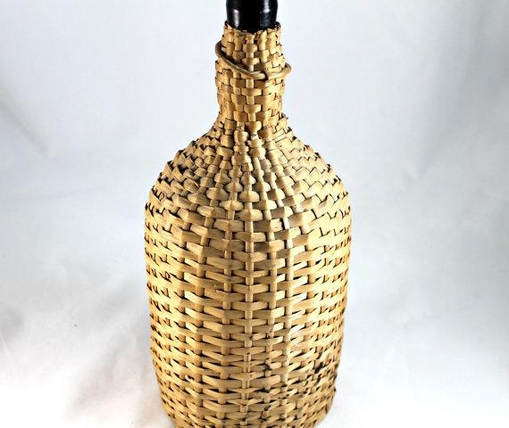 Vintage old wine bottle demijohn in wicker by TheVintageFunkery, $47.00