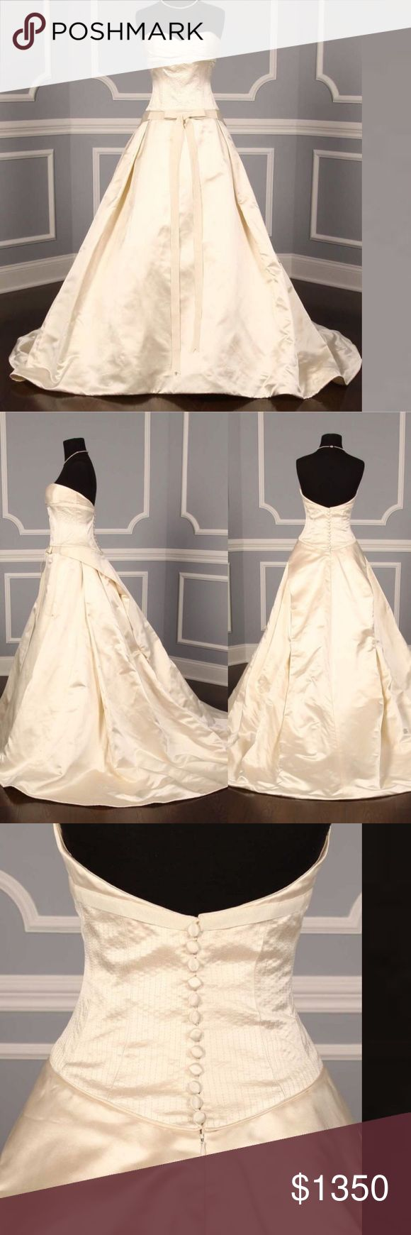Designer Peter Langner Wedding Gown This 100% Authentic Peter Langner Notre Dame couture bridal gown is truly an incredible gown to wear on your wedding day. The Italian silk satin fabric is so luxurious to the touch & the detail on the bodice is amazing! The bow on the front of the skirt is so feminine! The gown has NEVER been worn to a wedding/event, but it's a sample dress.Feel free to contact me with any questions about the gown SIZE 10 , IVORY color,   Chapel length train , Unaltered…