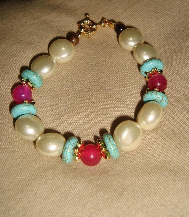 pulseira pérola com turquesa e ágata pink