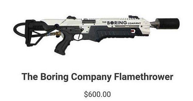 Elon Musk is selling a $600 Boring Company flamethrower | Daily Mail Online