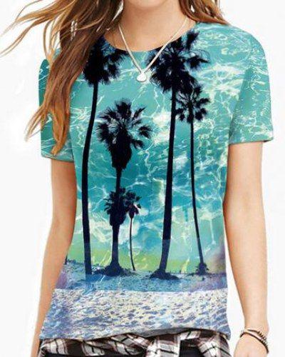 3D palm tree t shirt for women blue short sleeve tops