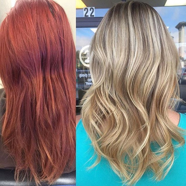 A flawless transition from RED to BLONDE!  Color by @courtneybells.