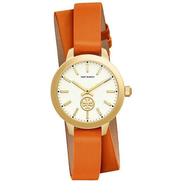 Tory Burch Collins Watch Double-Wrap, Orange Leather/Stainless Steel,... (14,415 INR) ❤ liked on Polyvore featuring jewelry, watches, logo watches, stainless steel watches, round watches, leather crown and orange jewelry