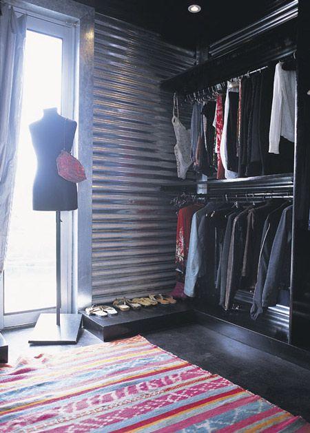 Corrugated Metal Wall Treatment: Corrugated Metals Window, Closet Spaces, Tins Wall, Corrugated Tins Ideas, Metals Decor, Industrial Closet, Closets Interiors, Closet Ideas, Corrugated Metals Wall