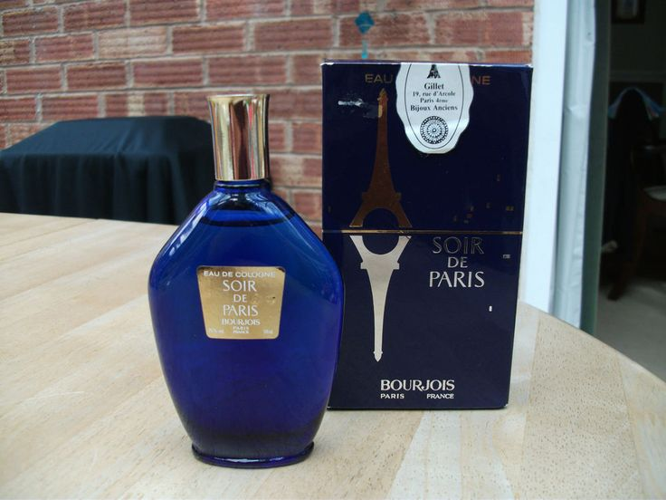 Vintage SOIR DE PARIS by BOURJOIS (Evening in Paris) Eau De Cologne - 58ml  MY FAVORITE PERFUME, NEXT CHANEL #5. BOURJOIS CREATED AROUND 1865 1SR COSMETIC COMPANY IN THE WORLD. THEY OWN CHANEL. I HAVE THE COLOGNE, AS MY FRIEND WKS IN PARIS FOR CHANEL. THEY DON'T MAKE IT ANYMORE., I LIKE IT ITS LIGHTER. NEXT FAVORITE TOM FORD