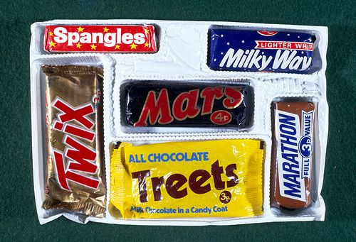 Mars selection box from Christmas 1971 containing a Mars Bar, Twix, Treets, Milky Way, Marathon, Spangles and Treets!