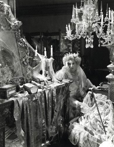 "Miss Haversham from ""Great Expectations"" created the ultimate Type of the half-crazy old woman abandoned at the alter, and living like a hermit."