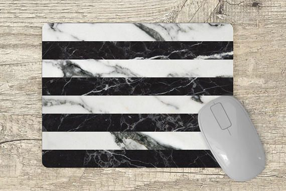 marble mouse pad black and white marble stripes