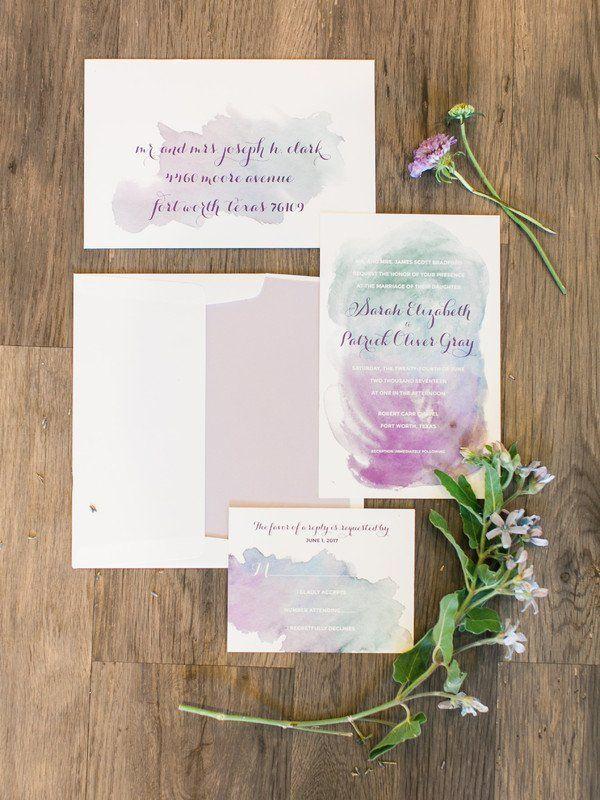 wedding invitation mint green%0A Watercolor  wedding invitation idea  purple   blue watercolor invitation  suite  Cloud Creative Events
