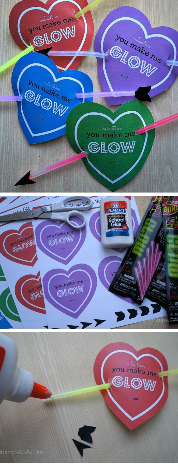 Cupid's Heart Glow Stick Valentines Cards | DIY Valentines Cards for Kids to Make | DIY Valentines Ideas for Kids to Make