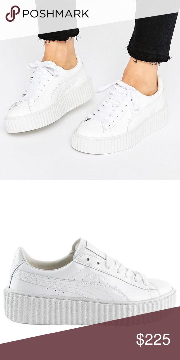FentyxPuma white low top platform sneakers White patent leather platform sneakers. Worn once. Comes with shoe bag and box. Runs true to size. Puma Shoes Sneakers