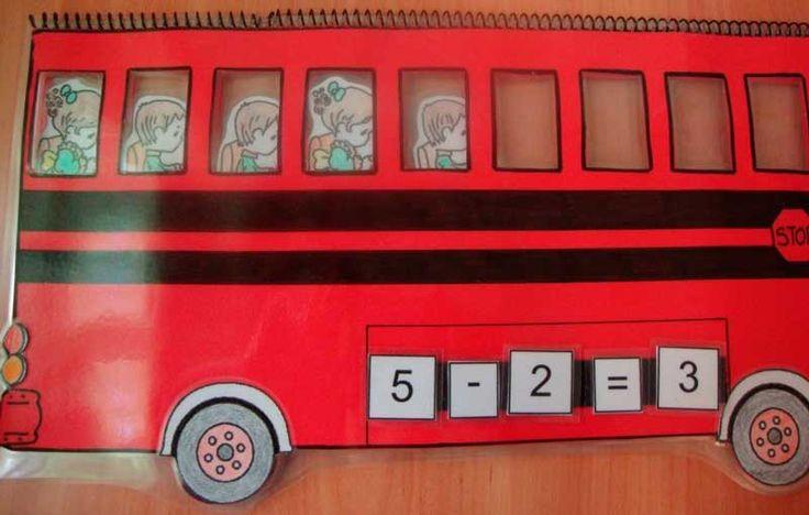 El autobús es un elemento muy familiar para los niños y que nos permite recrear situaciones en las quehay que sumar y restar. Este autobús de sumas y restas fue pensado y creado por la maestra Lorena Álvarez en uno de los cursos que impartí...