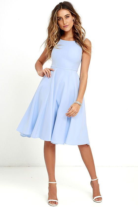 A happy tune just might pop into your head when you see the Sweetly Sung Periwinkle Blue Midi Dress! Slightly stretchy woven fabric passes over a bateau neckline, and into a sleeveless bodice with princess seams. Fitted waist opens to a full midi skirt with side seam pockets. Hidden back zipper with clasp.
