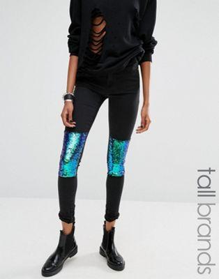 Noisy May Tall – Skinny-Jeans mit Knieaufnähern mit Pailletten