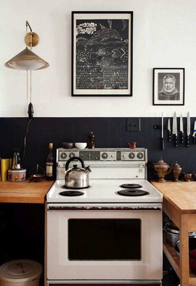 Great use of paint for delineation cheaper than tile, great freestanding 'counters'.