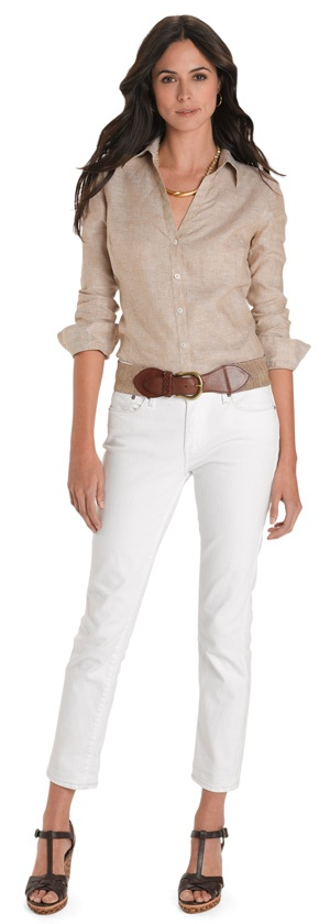 i really like this look. linen blouse with white jeans.