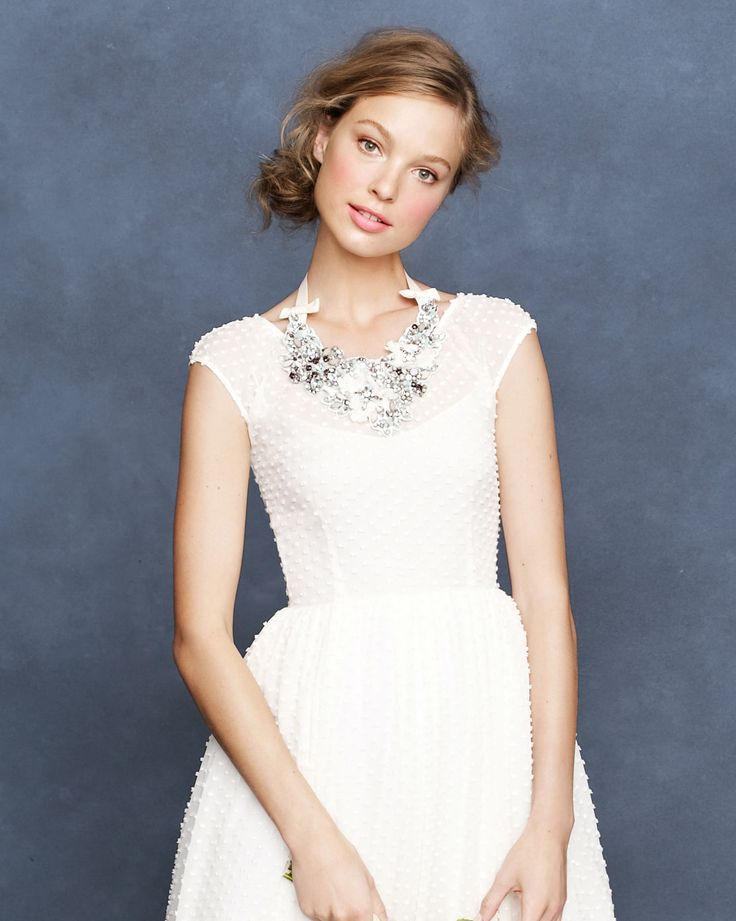 Statement necklace paired with simple dress, J. Crew