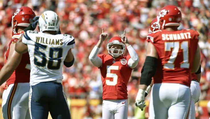 Kansas City Chiefs place kicker Cairo Santos celebrates his fourth quarter field…