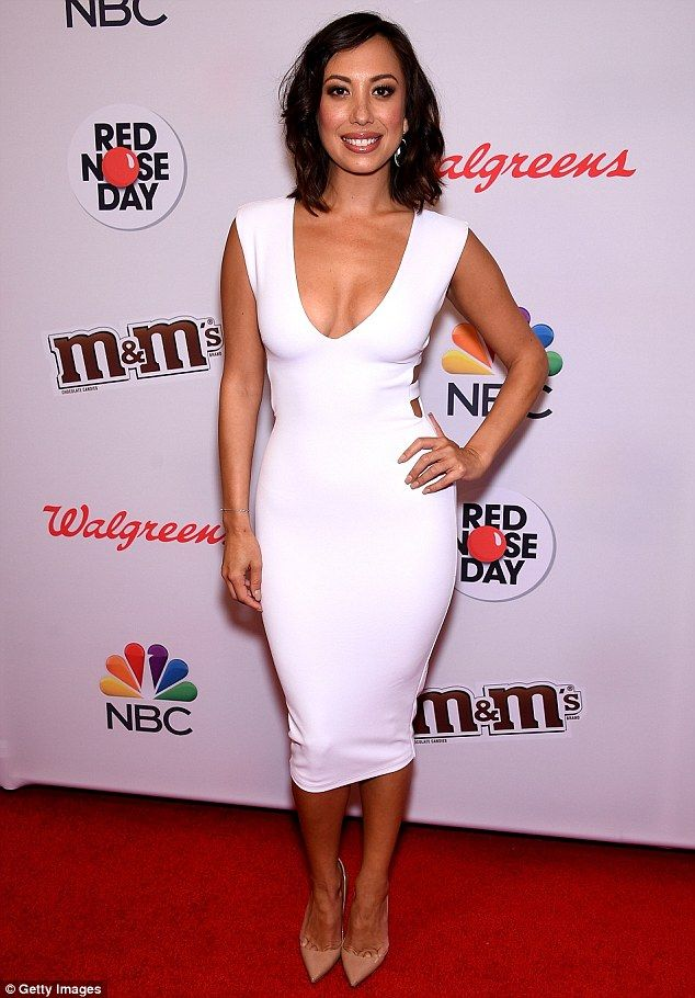 Curvaceous: Cheryl Burke led the celebrity arrivals at the first US Red Nose Day fundraisi...