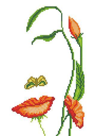 """Orlis.com.ua - эксклюзивные товары для вышивки - Рисунок-схема на ткани для вышивания бисером """"Девушка - цветок"""""""